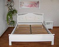 """Белая кровать с мягким изголовьем """"Миледи"""", тумбочки, комод. Массив - сосна, ольха, дуб."""