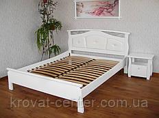 """Кровать белая с мягкой спинкой """"Миледи"""". Массив - сосна, ольха, береза, дуб."""