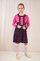 Детское красивое малиновое платье в горошек с болеро.