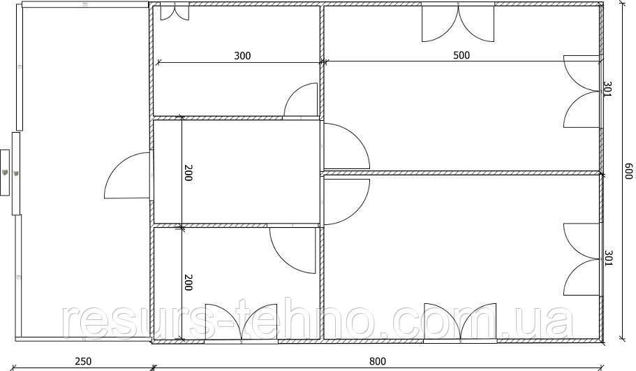 Дом 8м х 6м с терассой