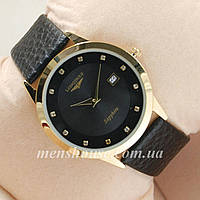 Бюджетные часы Longines Slim Quartz Gold/Black