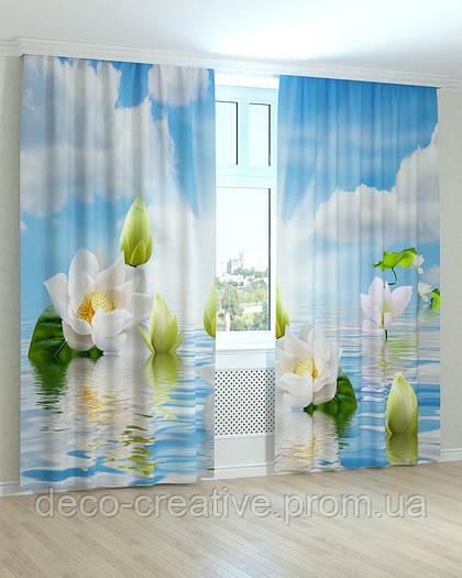 Фотошторы цветы кувшинки на воде