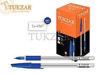 Шариковая ручка, прозрачный корпус, резиновый держатель, цвет чернил: синиий.