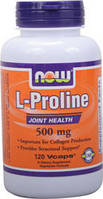 Синтез коллагена для укрепления связок - Пролин / NOW - L-Proline 500mg (120 caps)