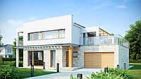 S5. Современный комфортный двухэтажный дом с плоской крышей, гаражом и террасой на втором этаже