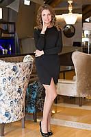Платье женское с разрезом спинка гипюр - Черный