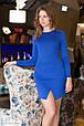 Платье женское с разрезом спинка гипюр - Электрик, фото 3