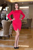 Платье женское с разрезом спинка гипюр - Красный