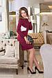 Платье женское с белыми вставками и вырезом на спине - Бордовый, фото 2