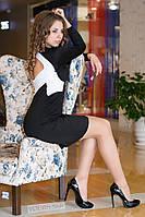Платье женское с белыми вставками и вырезом на спине - Черный