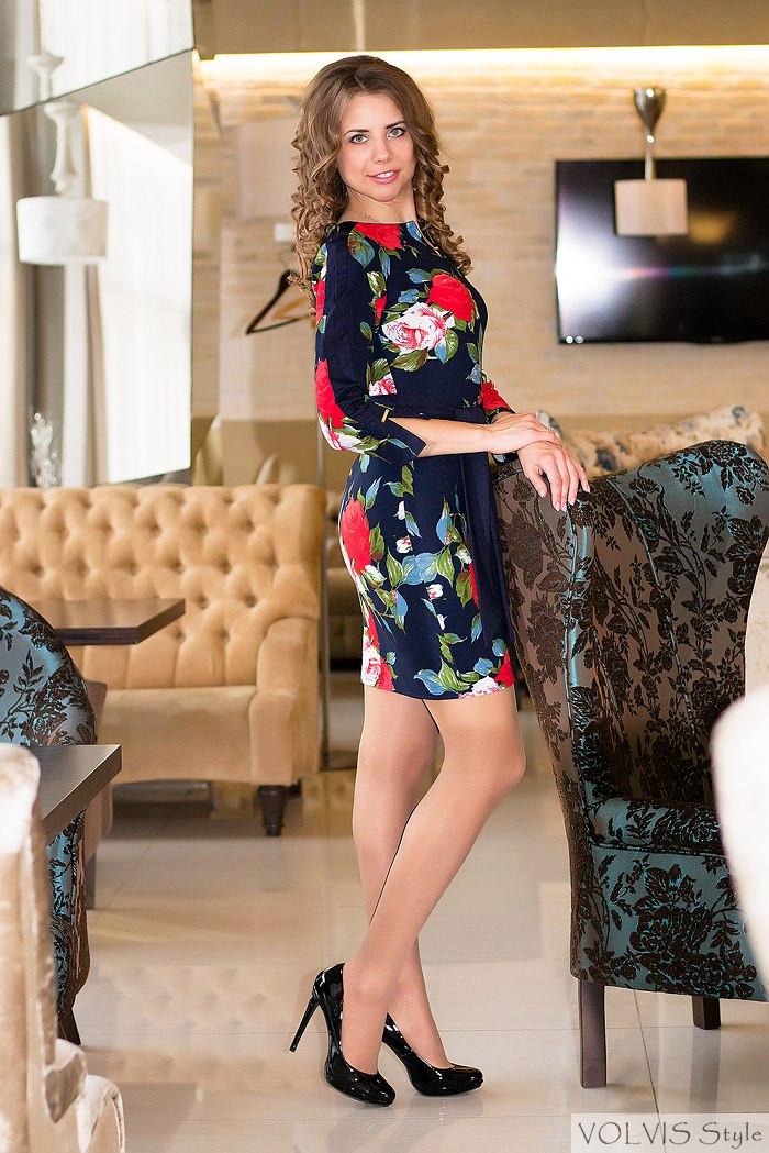 Платье женское Розы - Темно синий с синими вставками