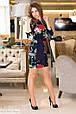 Платье женское Розы - Темно синий с синими вставками, фото 2