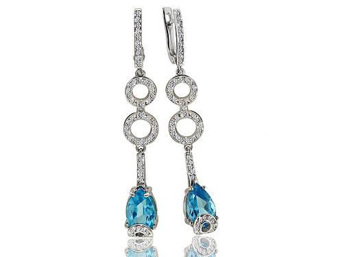 Серебряные родированные серьги висюльки с голубым топазом и фианитом на английском замке с00053-05/3