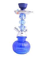 Синий классический кальян для дома 28 см, 1 трубка
