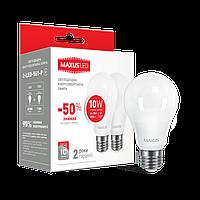 Светодиодная LED лампа MAXUS A60 10W мягкий свет 220V E27 (по 2 шт.) (2-LED-561-P)