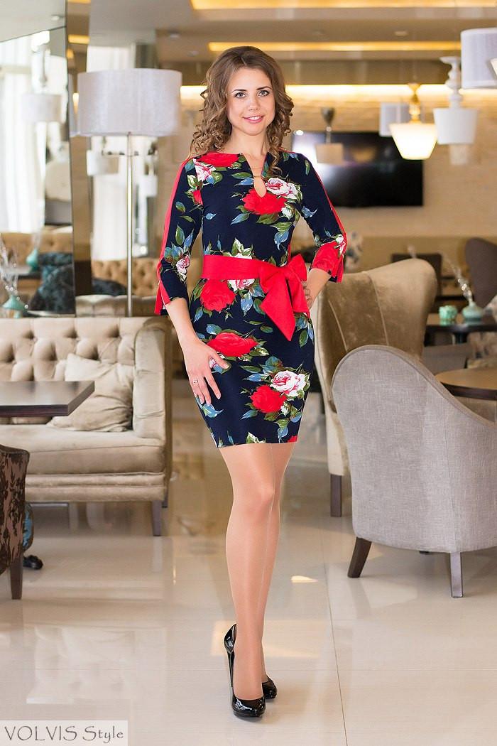 Платье женское Розы ― Темно синий с красными вставками