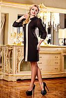 Платье полуприталенного силуэта с воротником и шифоновыми рукавами на манжетах, 44-50 размеры