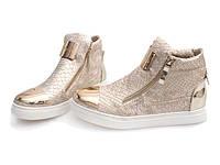 Модные женские сникерсы золотистого цвета 36,38-40