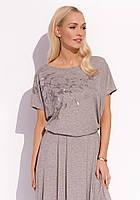 Женская летняя блуза из вискозы с коротким рукавом цвета капучино. Модель Patsy Zaps, весна-лето 2017.
