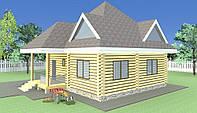 Дом из дикого сруба  8,6x8,6