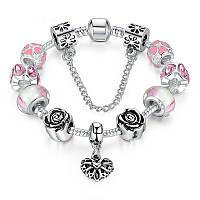 Браслет Pandora (Пандора) BEST розовый с бусинами муранского стекла и цепочкой