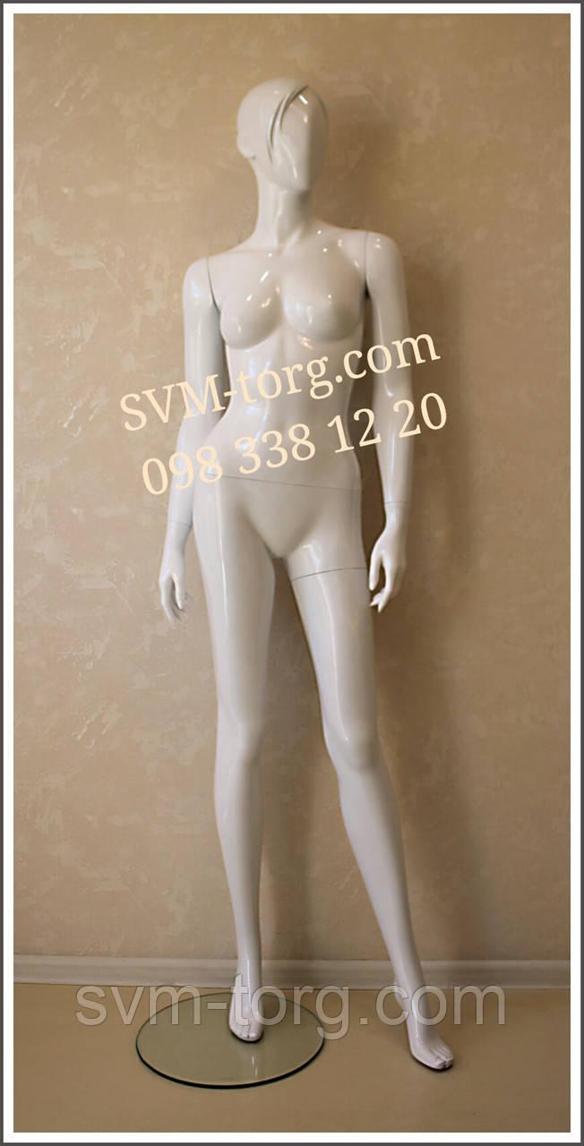 Женский манекен лакированный белый