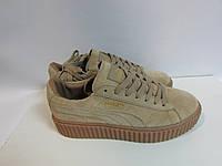 Женские кроссовки PUMA (8251) бежевые замшевые код 959А