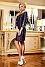 Платье из принтованного жаккарда с лазерной обработкой и кожаным низом, 44-50 размеры