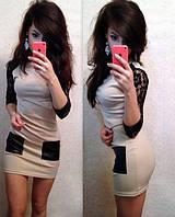 Платье с гипюром и кожей, фото 1