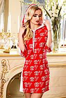 Легкое спортивное платье из итальянского трикотажа, с капюшоном, для мамы и дочки, 44-50 размеры, фото 1