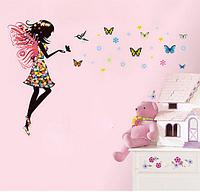 """Наклейка на стену, наклейки в салон красоты  """"фея в цветочном платье с бабочками"""" 50*70см лист"""