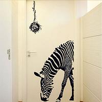 """Наклейка на стену, виниловые наклейки """"зебра возле гнезда с птицами"""" (лист 60*90см)"""
