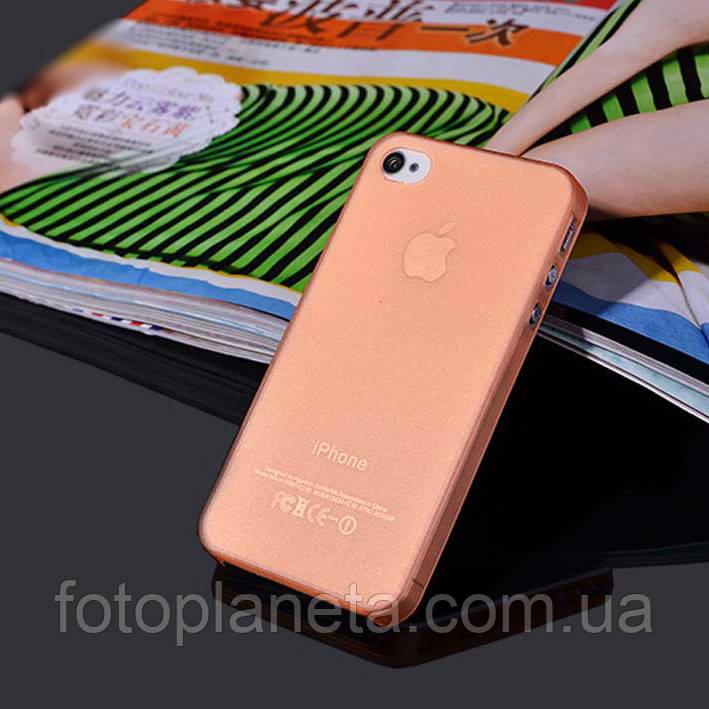 Чохол матовий, помаранчевий для iPhone 4, 4s