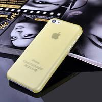 Чехол матовый, желтый для iPhone 5c