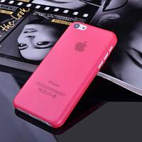 Чехол матовый, красный для iPhone 5c