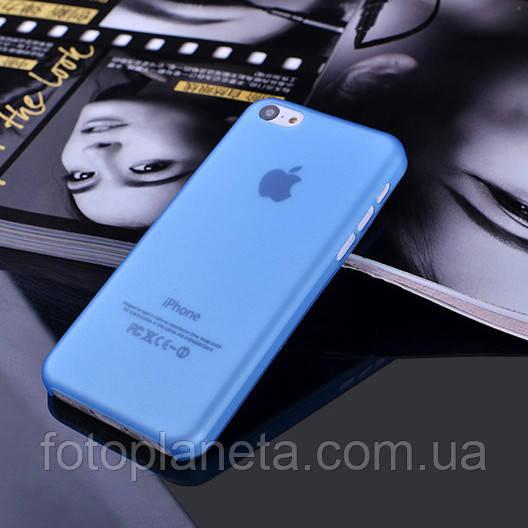 Чехол матовый, синий для iPhone 5c