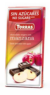 Шоколад без глютена и сахара Torras с яблоком, 75 г.