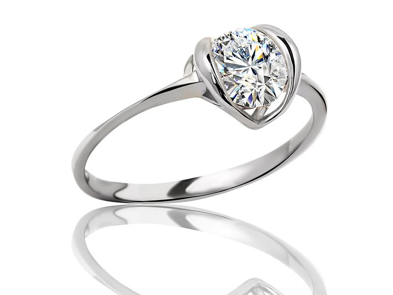 Серебряное родированное помолвочное кольцо солитер с одним камнем цирконием, фианитом к00390