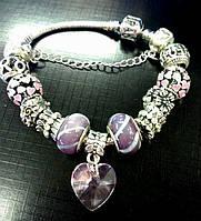 "Браслет Pandora (пандора) ""Розовое сердце"" P046"