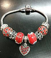 """Браслет Pandora (пандора) """"Подвеска красное сердце"""" P048"""