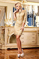 Гипюровое приталенное платье с кружевами, нарядное, 44-50 размеры, фото 1