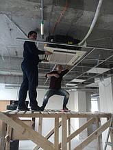 Монтаж панели, и выставление кондиционера относительно подвесного потолка