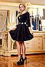 Нарядное платье с юбкой в складку из жаккарда, с кожаным поясом, 42-48 размеры
