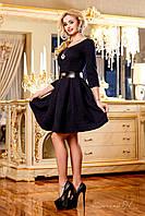 Нарядное платье с юбкой в складку из жаккарда, с кожаным поясом, 42-48 размеры, фото 1
