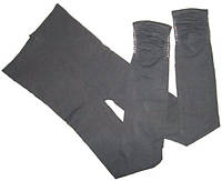 Леггинсы - капри со сборкой на ноге и стразами серые