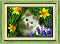 Схема для вышивания бисером на авторской канве котенок