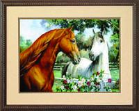 Схема для вышивания бисером на авторской канве лошади