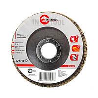 Диск шлифовальный лепестковый 115*22мм, зерно K36 INTERTOOL BT-0103