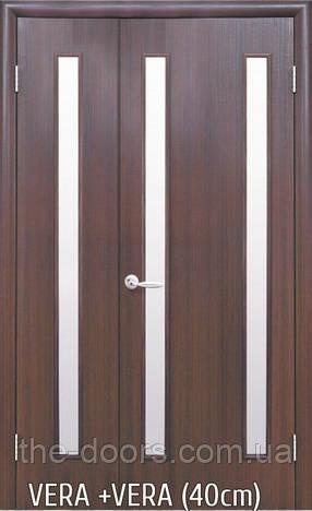 Двери МДФ Вера полуторные стекло сатин экошпон