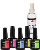 Набор 5 гель-лаков G.La + NailPrep ADORE (100 мл) в подарок